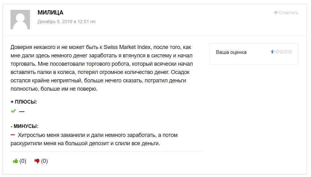 Псевдоброкер SwissMarketIndex. Отзывы и обзор лохотона.